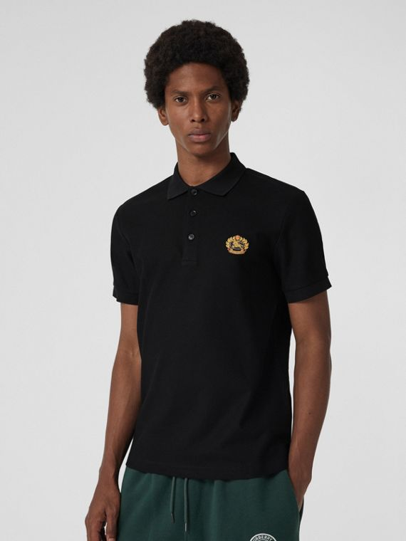 Archive Logo Cotton Piqué Polo Shirt in Black