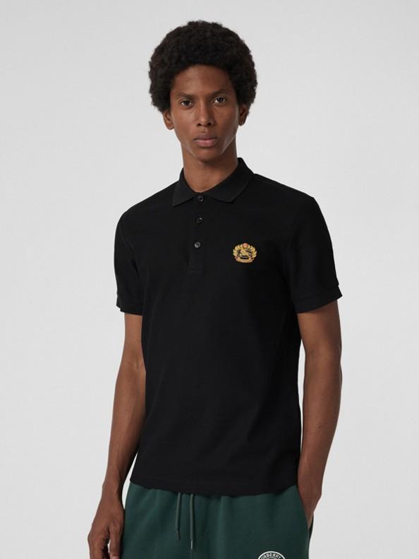 典藏徽標棉質珠地網眼 Polo 衫 (黑色)