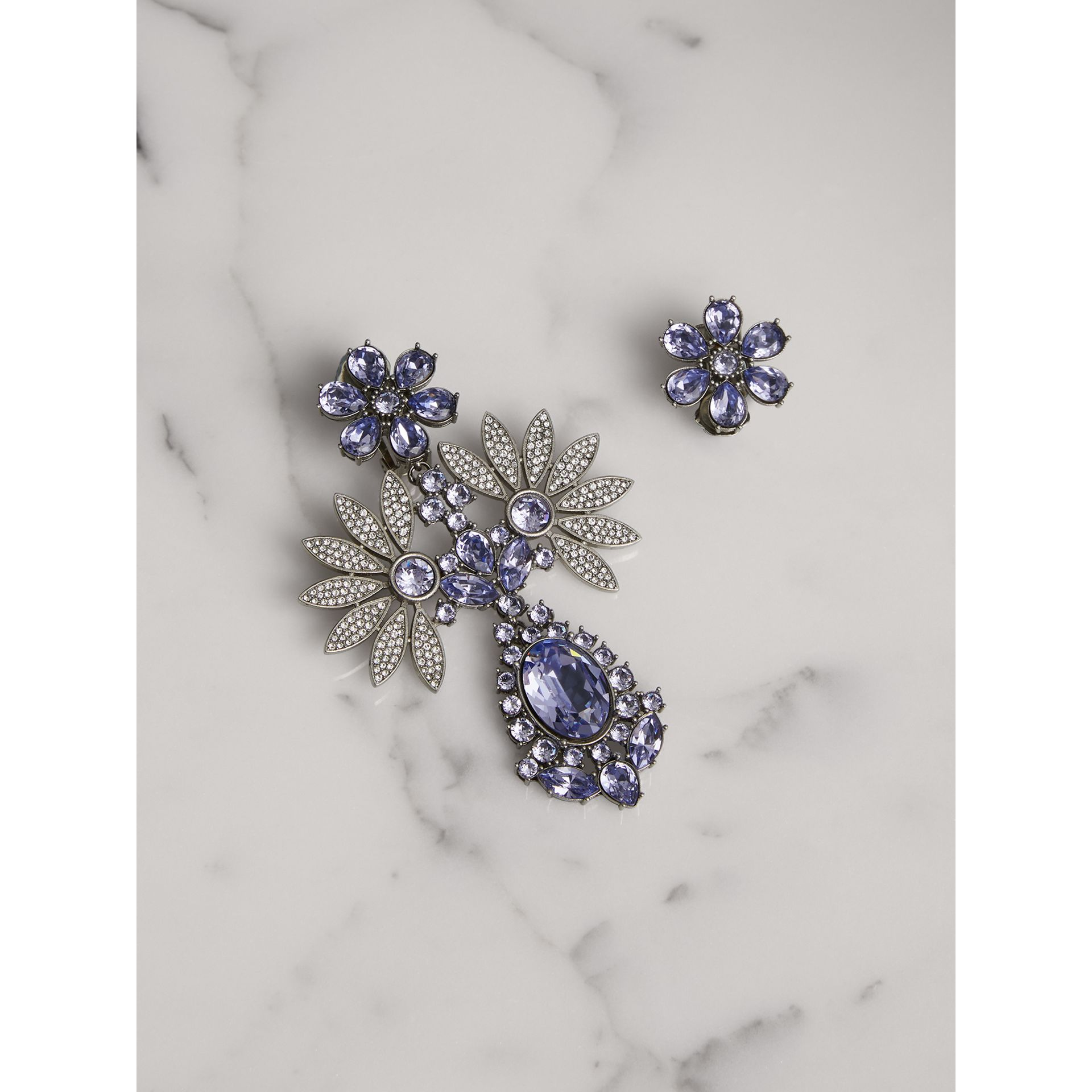 Crystal Double-daisy Drop Earring and Stud Set in Lavender Blue - Women | Burberry United Kingdom - gallery image 0