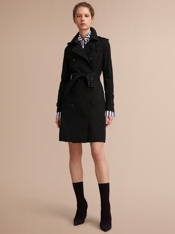 The Kensington – Long Heritage Trench Coat in Black - Women | Burberry Singapore