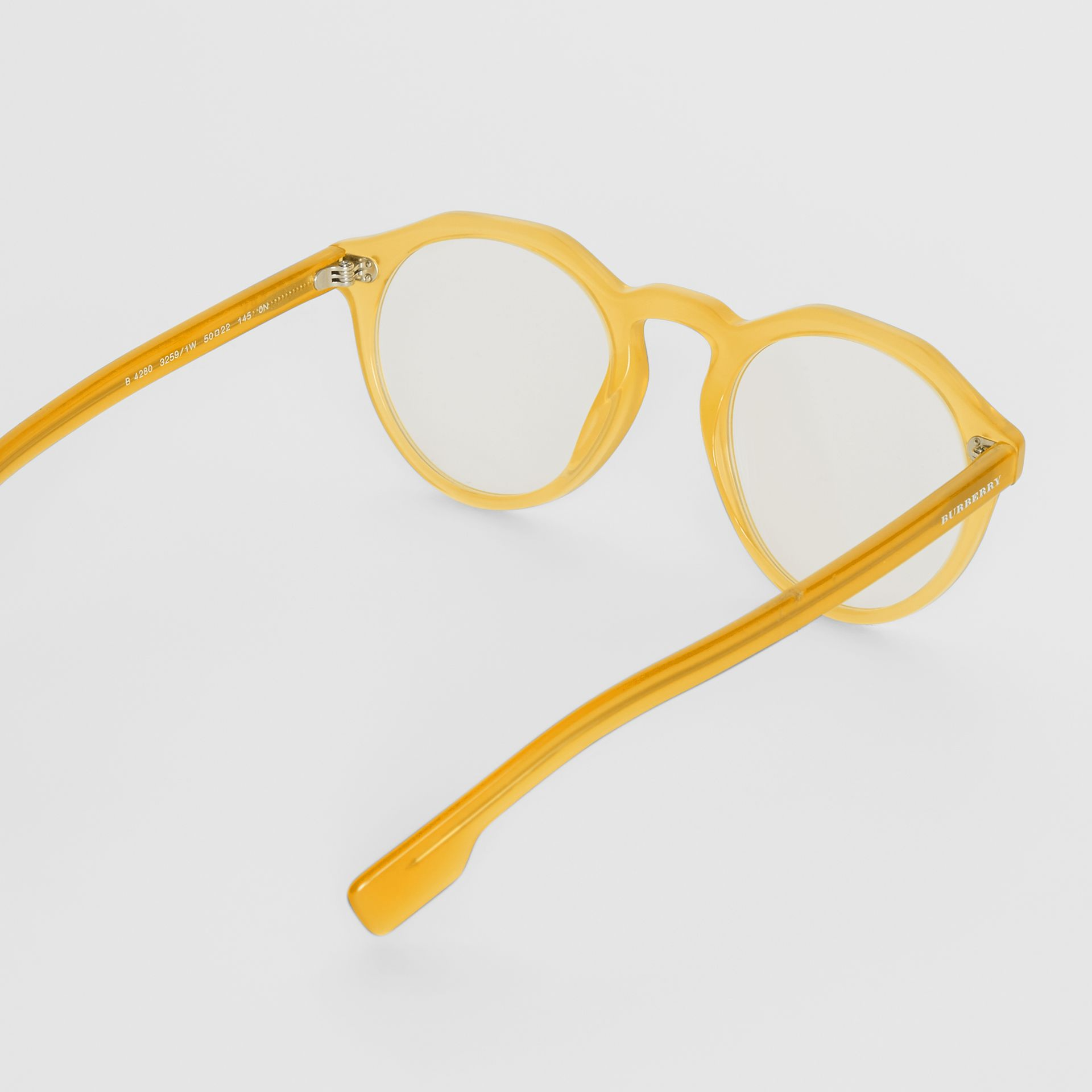 Keyhole Round Optical Frames in Ochre Yellow - Men | Burberry - gallery image 4