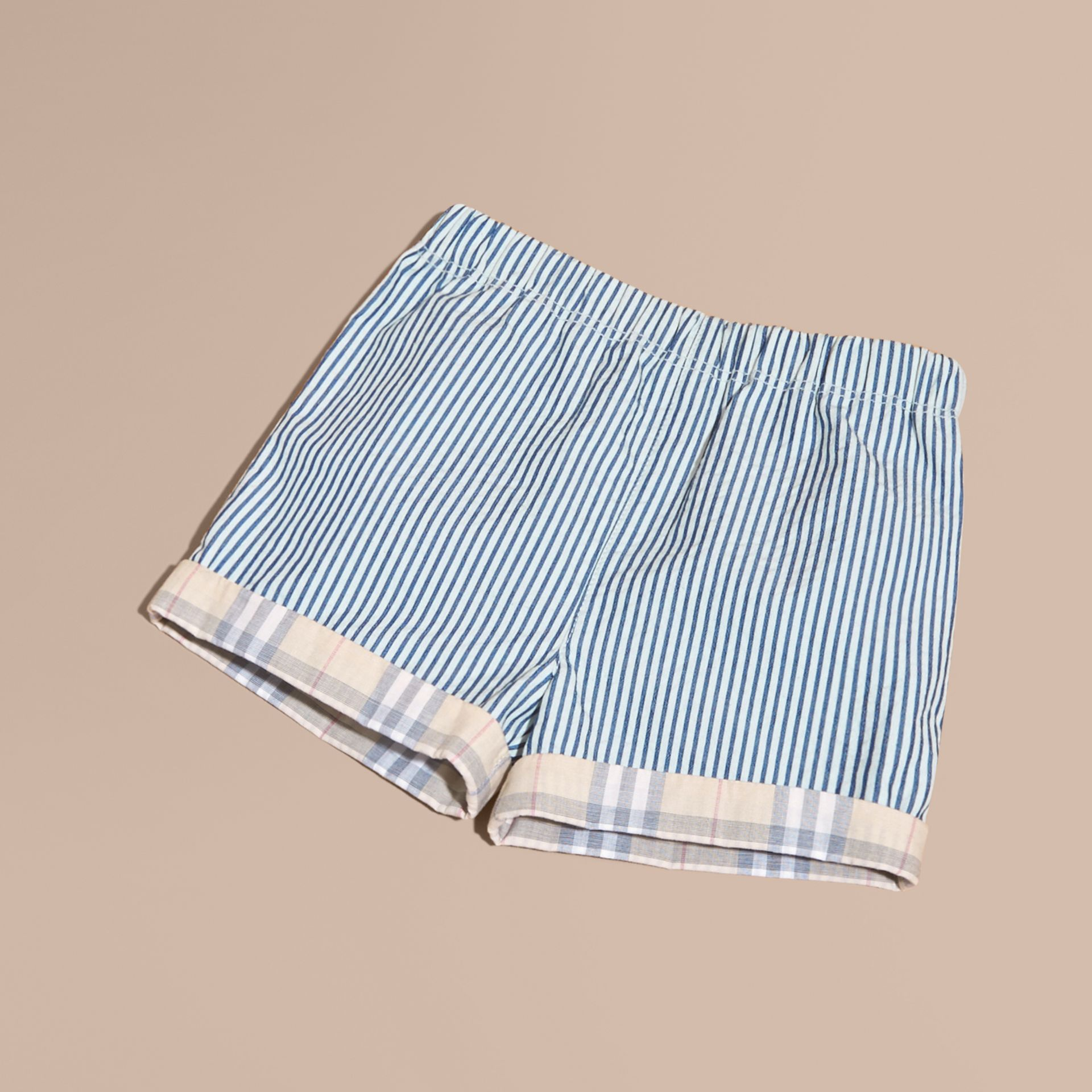 Striped Cotton Blend Shorts with Check Cuffs | Burberry Australia - gallery image 1