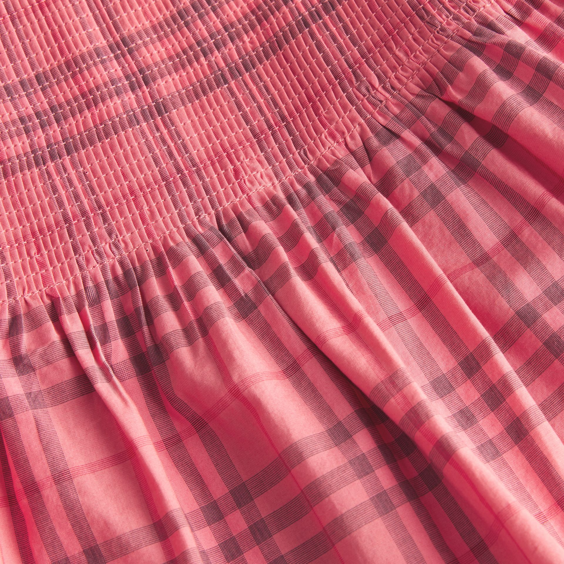 Ruffle Detail Check Cotton Dress in Coral Red - Children | Burberry Hong Kong - gallery image 1
