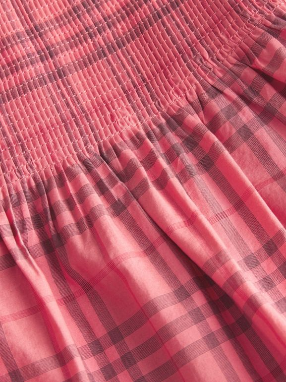 Ruffle Detail Check Cotton Dress in Coral Red - Children | Burberry - cell image 1