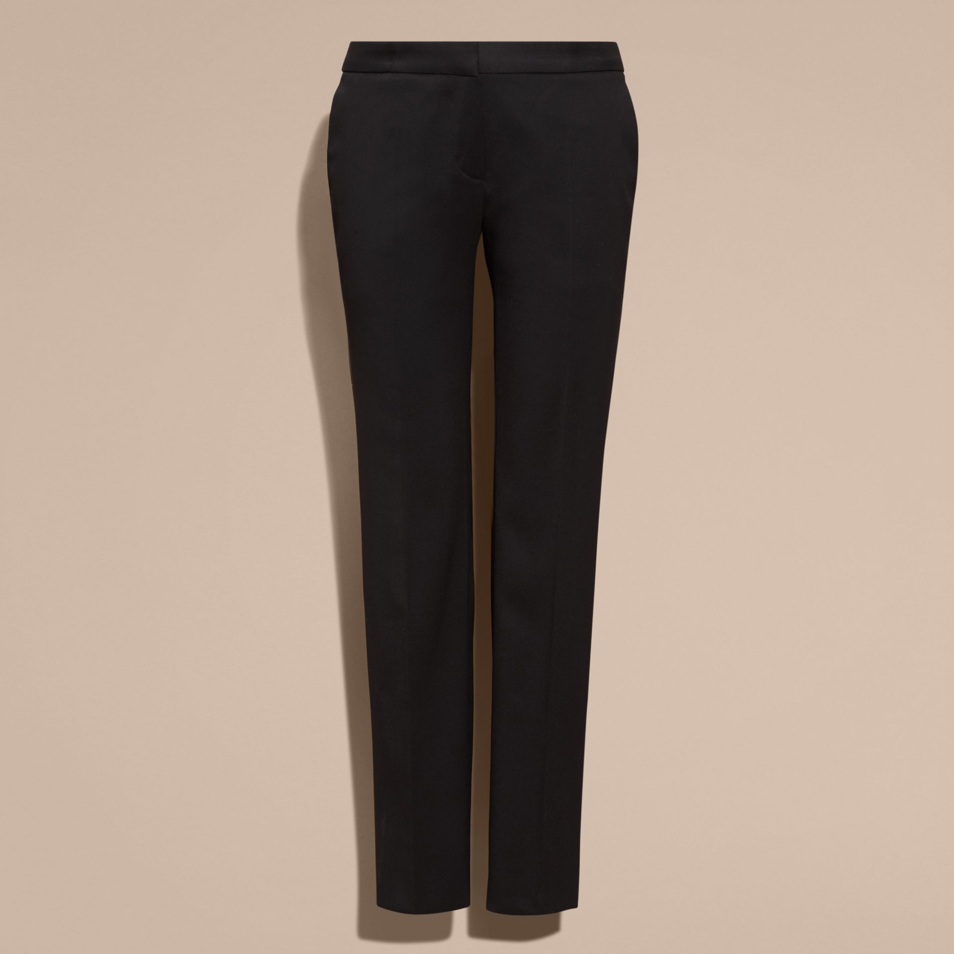 Black Cropped Stretch Wool Tailored Trousers - gallery image 4