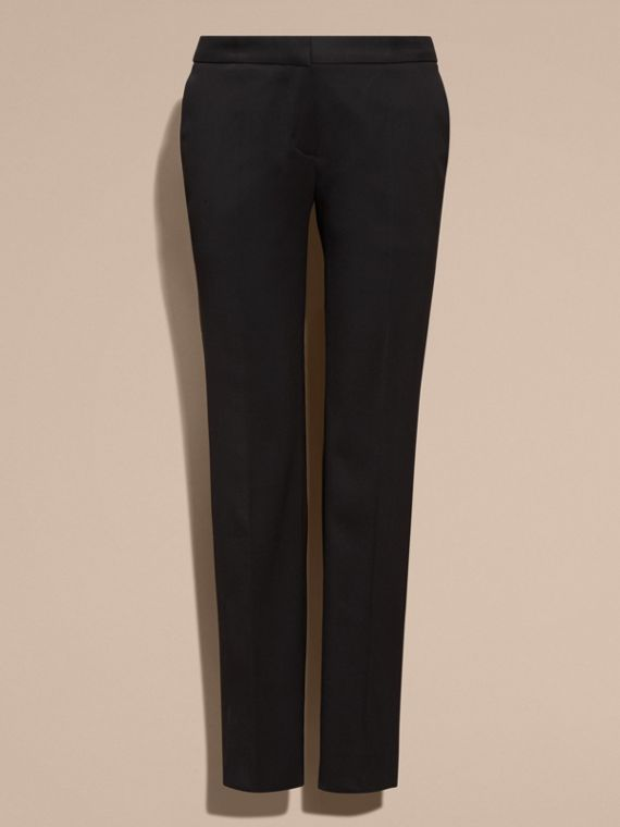 Black Cropped Stretch Wool Tailored Trousers - cell image 3
