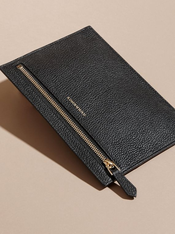 Grainy Leather Currency Wallet in Black | Burberry - cell image 3