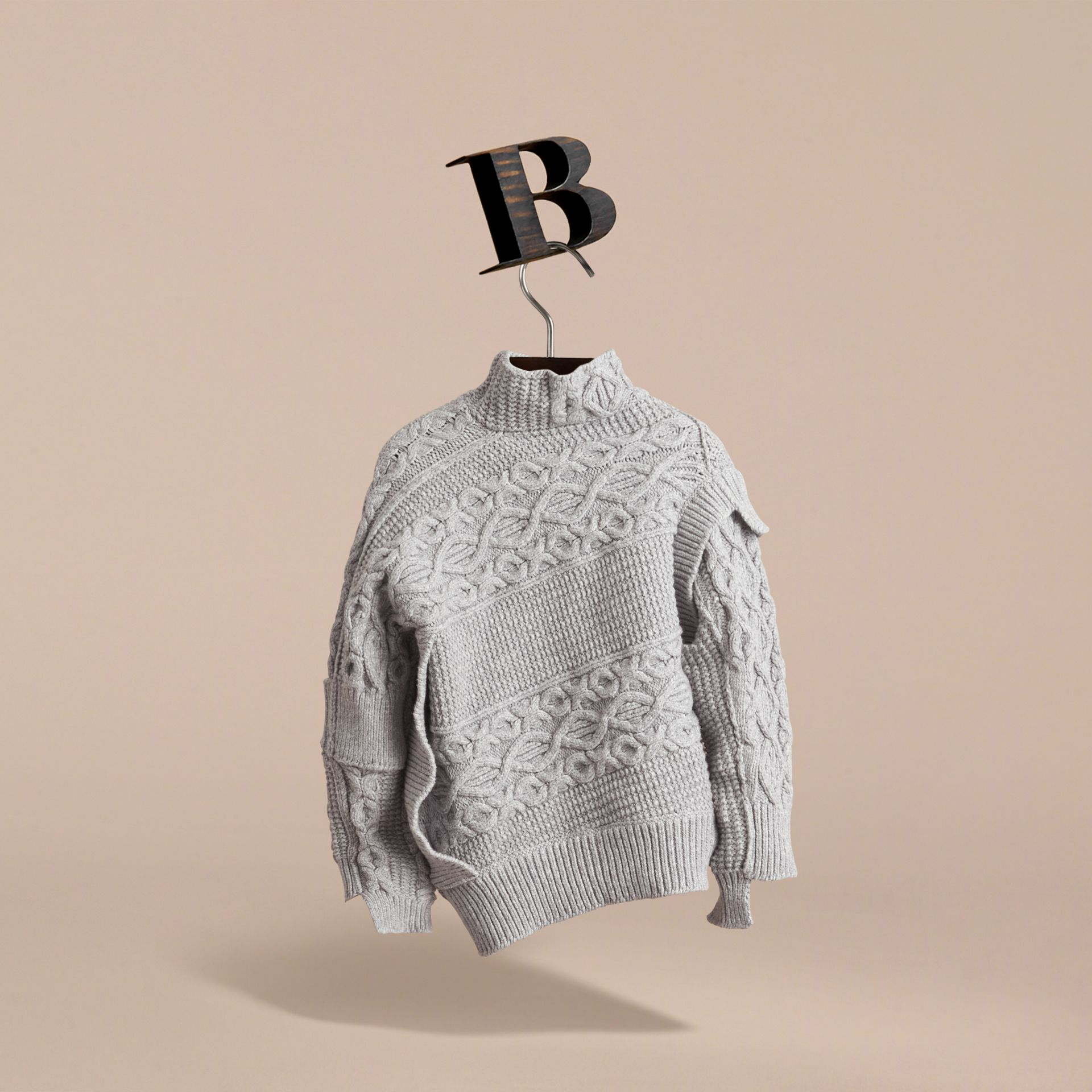 Cable and Rib Knit Collage Cotton Blend Sweater in Pale Grey Melange - Boy | Burberry - gallery image 4