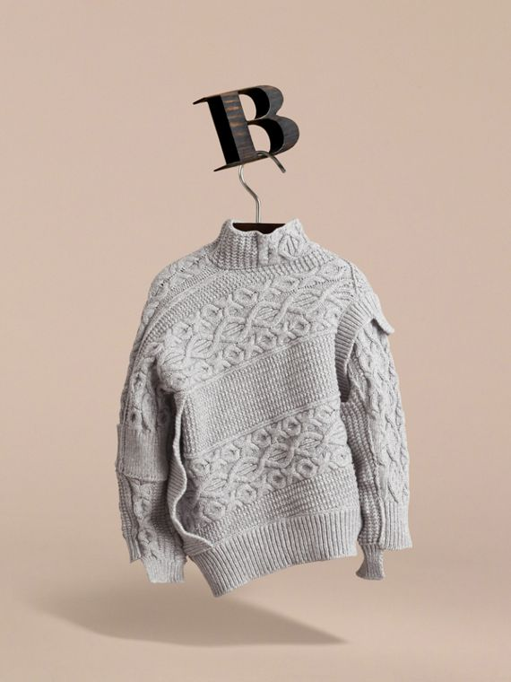 Cable and Rib Knit Collage Cotton Blend Sweater in Pale Grey Melange - Boy | Burberry - cell image 3