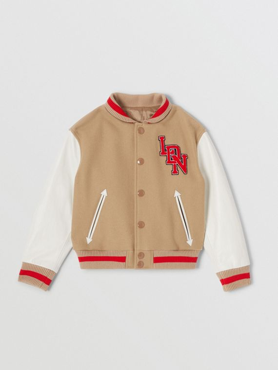 Contrast Sleeve Logo Graphic Wool Bomber Jacket in Honey