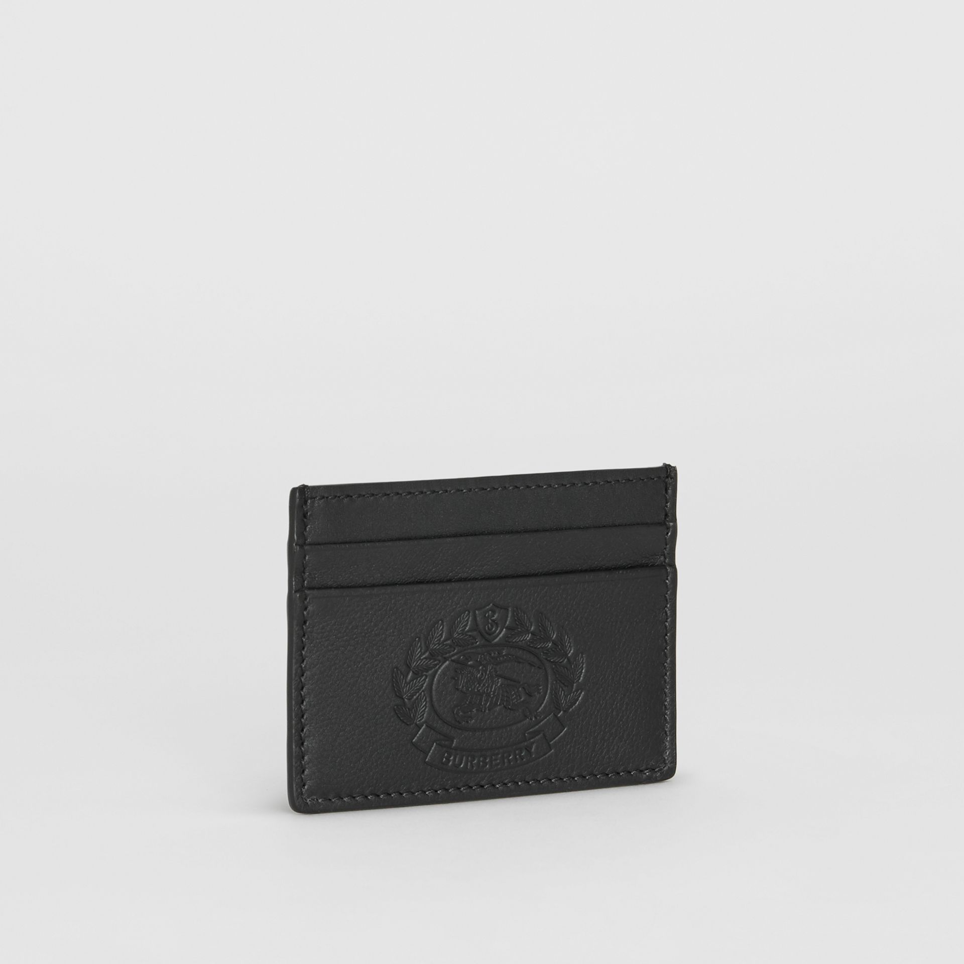 Embossed Crest Leather Card Case in Black | Burberry - gallery image 3