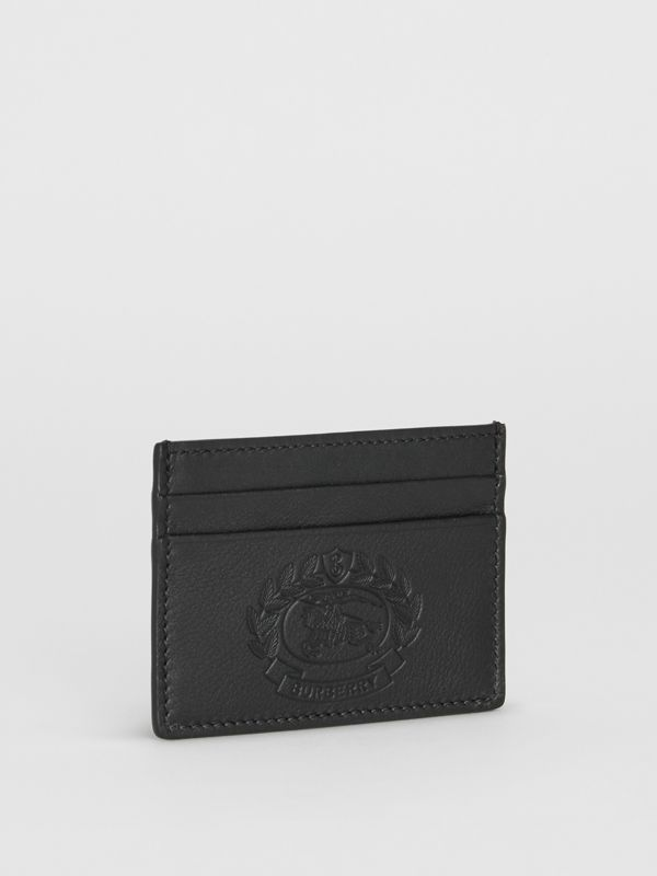 Embossed Crest Leather Card Case in Black - Men | Burberry - cell image 3