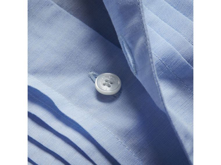 Modern Fit Linen Cotton Dress Shirt in Pale Blue - cell image 1
