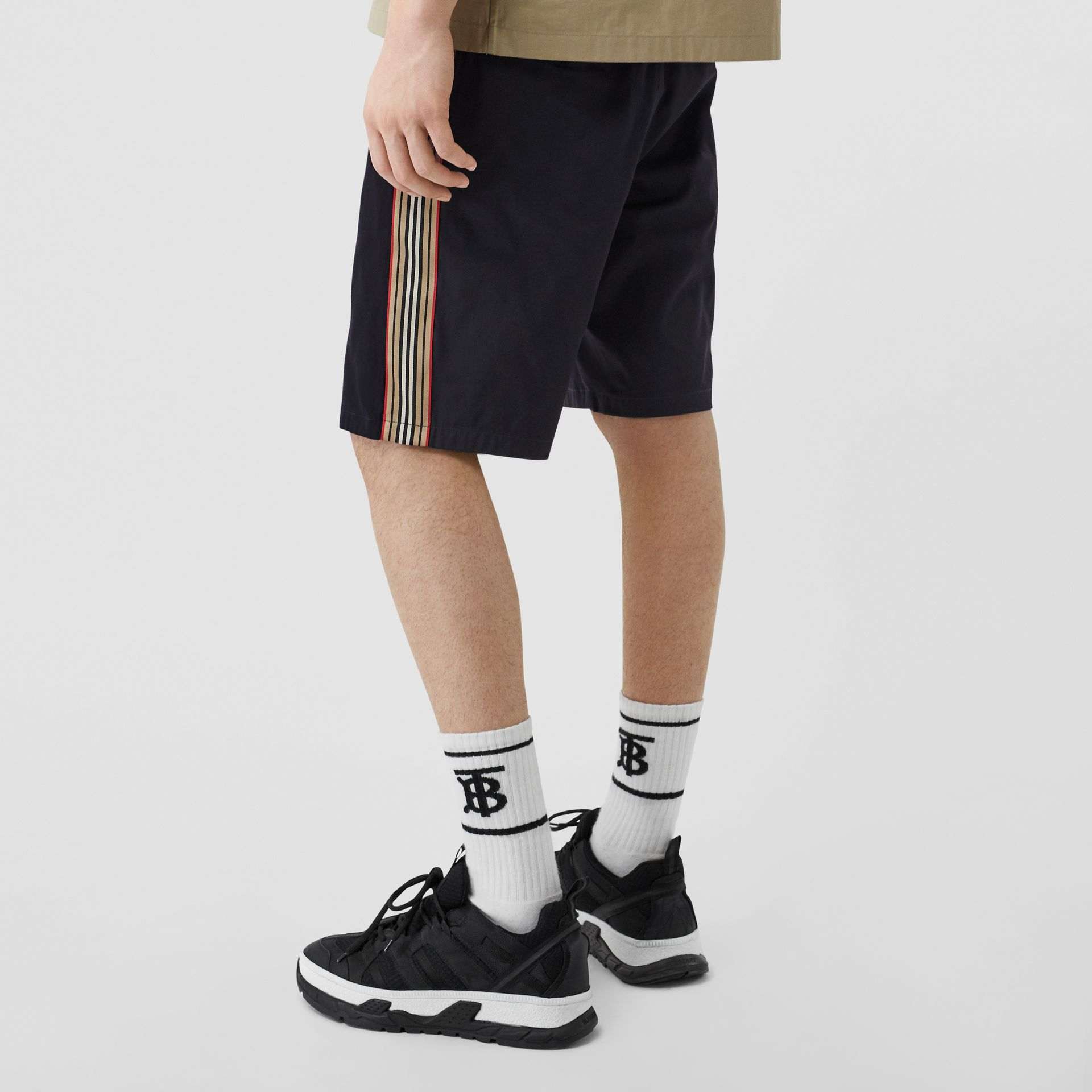 Icon Stripe Detail Cotton Twill Chino Shorts in Navy - Men | Burberry United Kingdom - gallery image 2