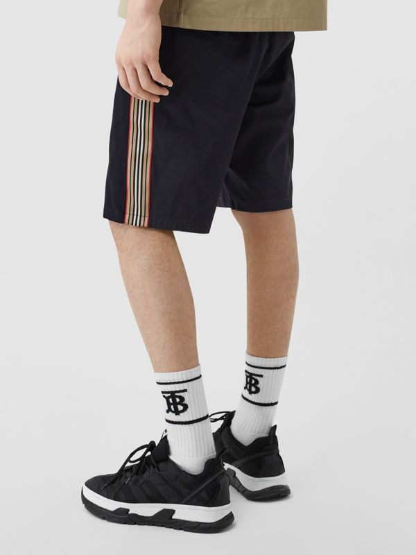 Icon Stripe Detail Cotton Twill Chino Shorts in Navy - Men | Burberry - cell image 2