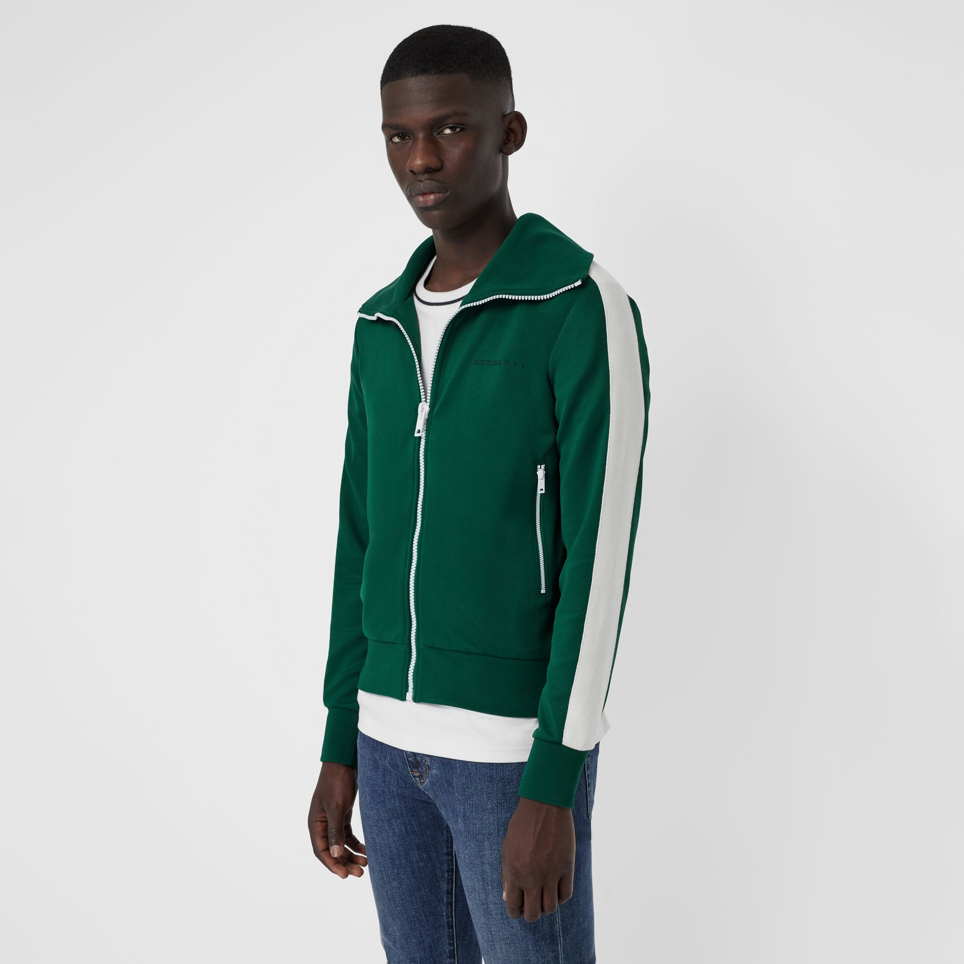 Stripe Detail Jersey Track Top in Opal Green - Men | Burberry - gallery image 4
