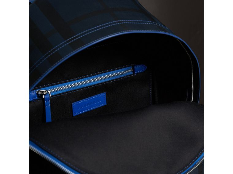 Leather Trim London Check Backpack in Navy/blue - Men | Burberry Australia - cell image 4