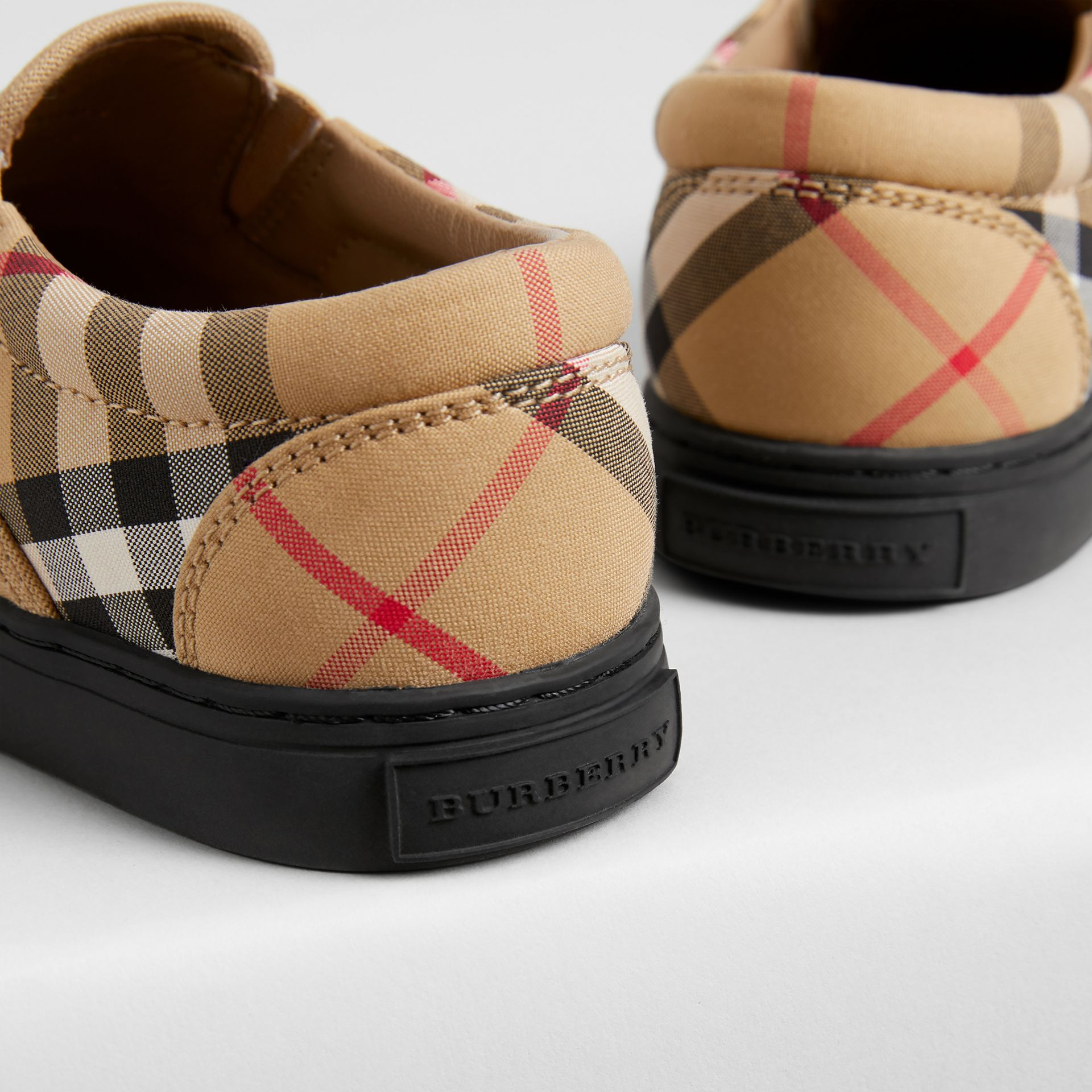 Vintage Check and Leather Slip-on Sneakers in Antique Yellow/black | Burberry - gallery image 1