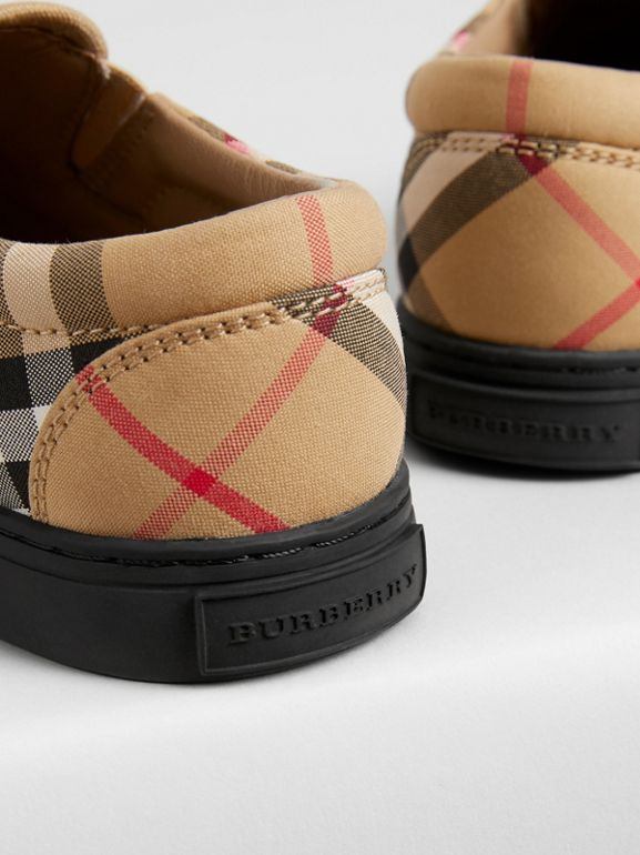 Vintage Check and Leather Slip-on Sneakers in Antique Yellow/black - Children | Burberry - cell image 1