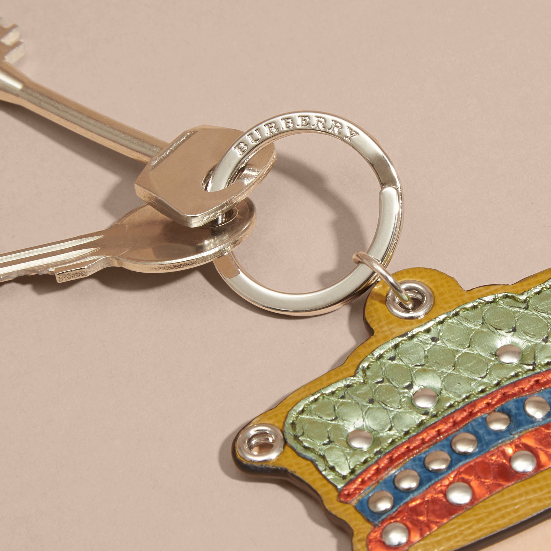 Storm green Snakeskin and Leather Crown Key Ring - gallery image 2