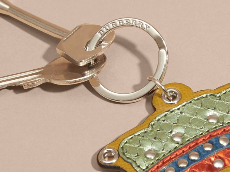 Storm green Snakeskin and Leather Crown Key Ring - cell image 1