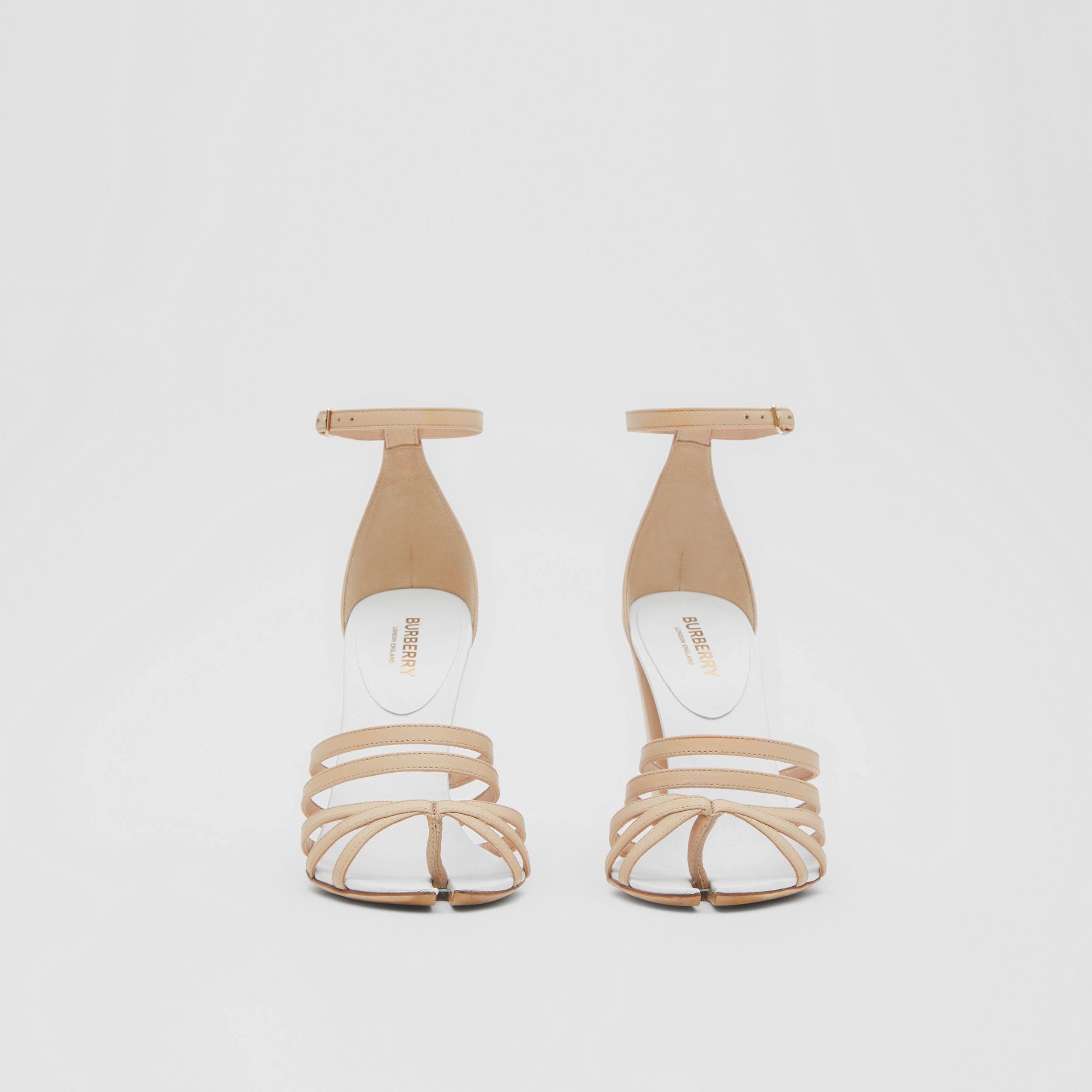 Split-toe Detail Leather Sandals in Soft Fawn - Women | Burberry - 3