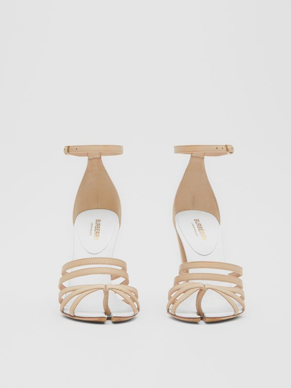 Split-toe Detail Leather Sandals in Soft Fawn - Women | Burberry - cell image 2