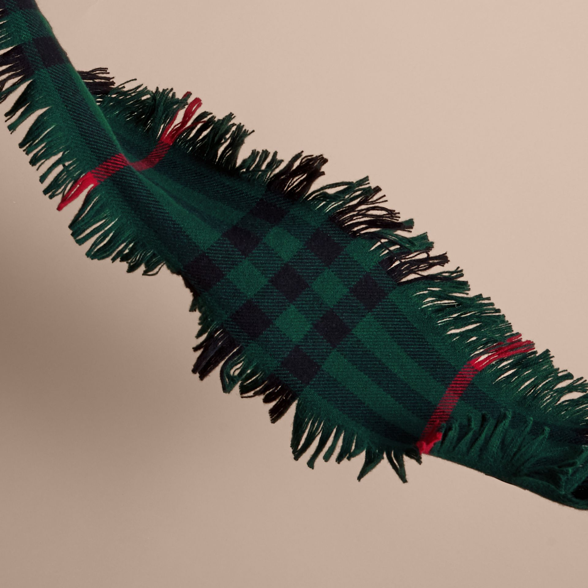 Fringed Check Wool Mini Scarf in Jade Green | Burberry - gallery image 3