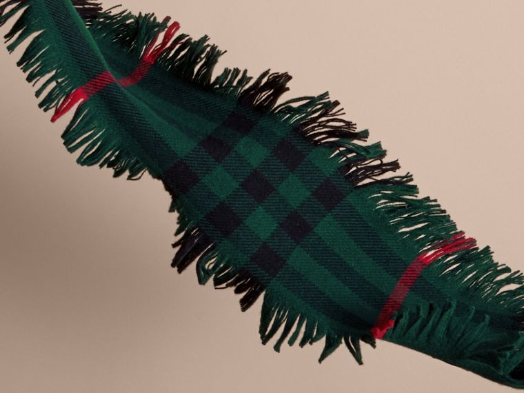 Fringed Check Wool Mini Scarf in Jade Green | Burberry - cell image 2