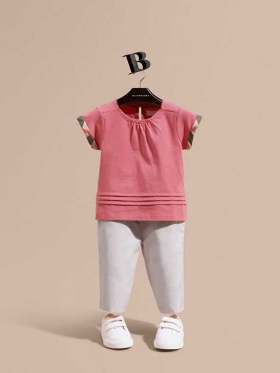 Check Trim Cotton T-shirt Pink Azalea