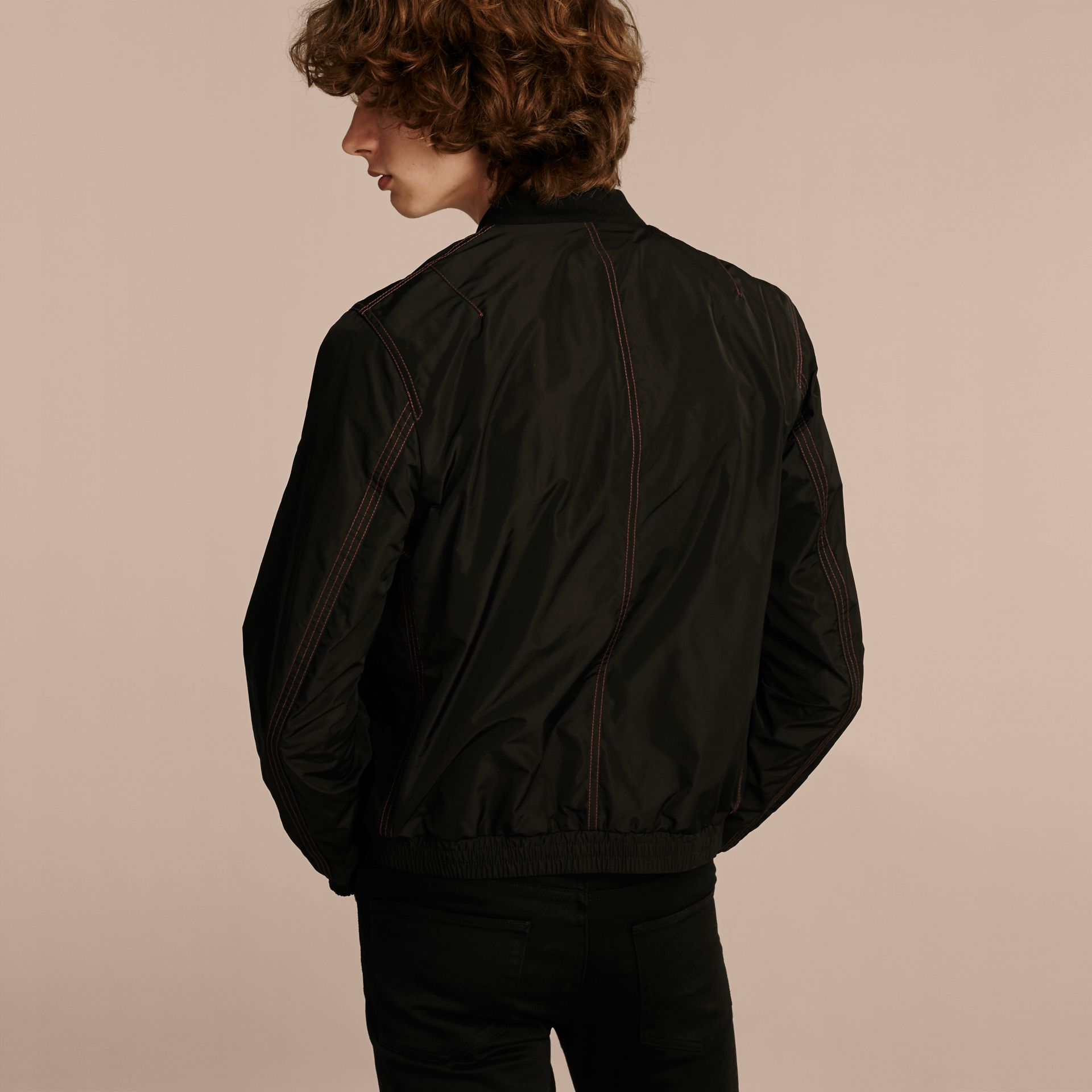 Black Lightweight Topstitch Detail Taffeta Bomber Jacket - gallery image 3