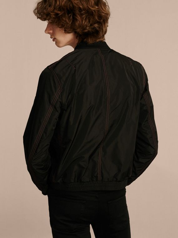 Black Lightweight Topstitch Detail Taffeta Bomber Jacket - cell image 2