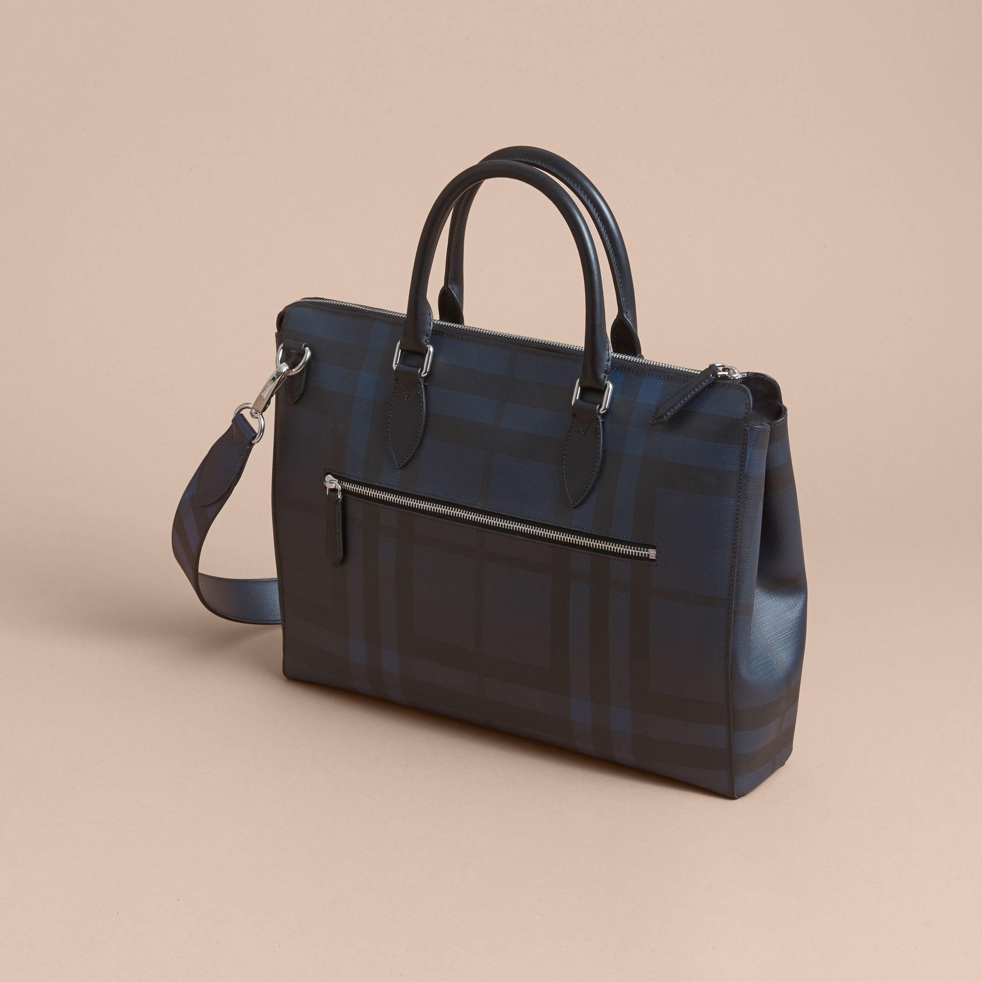 Large London Leather Briefcase in Dark Navy - Men | Burberry - gallery image 4
