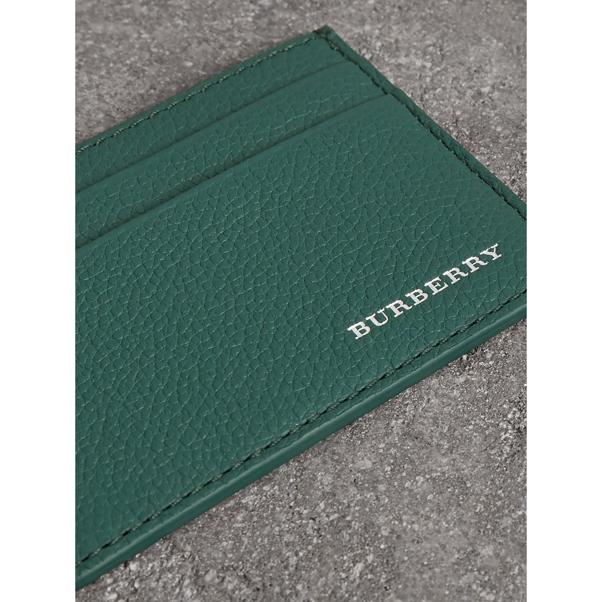Grainy Leather Card Case in Dark Cyan | Burberry - gallery image 1
