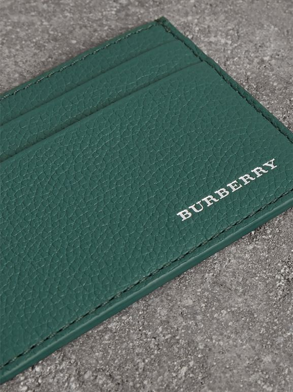 Grainy Leather Card Case in Dark Cyan | Burberry - cell image 1