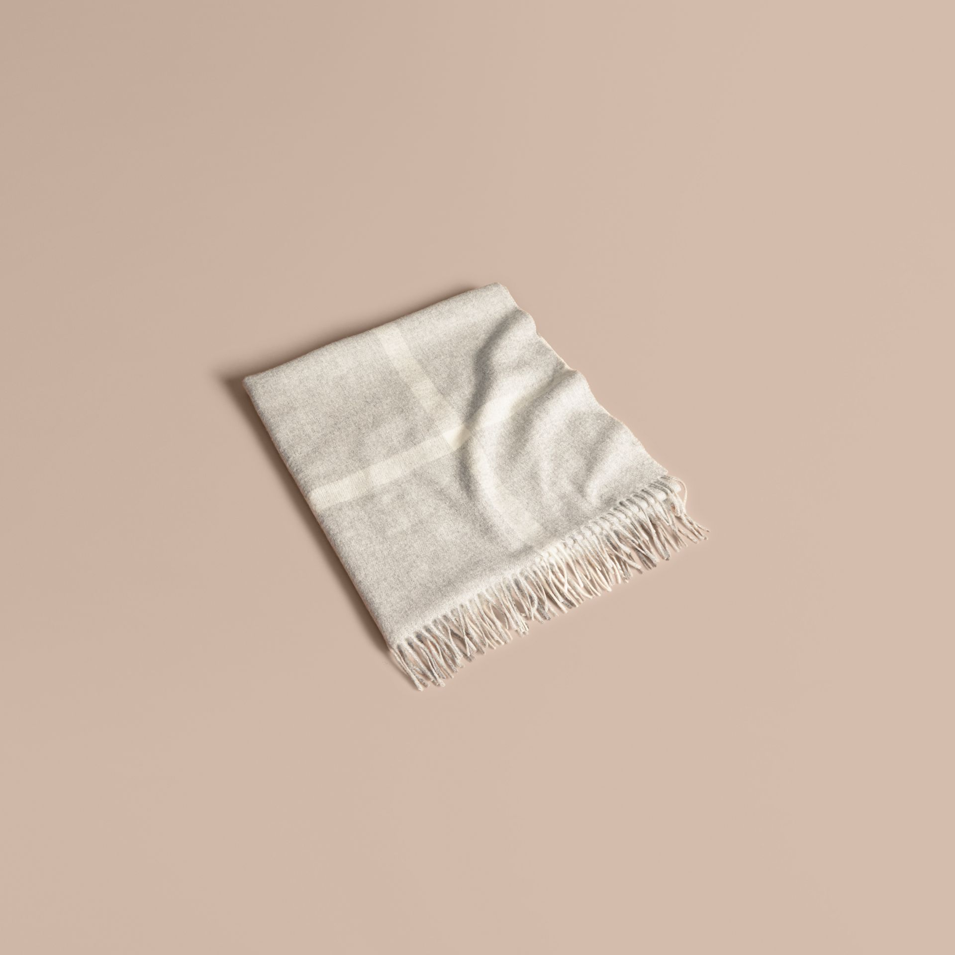 Check Cashmere Baby Blanket in Light Grey Melange | Burberry - gallery image 1