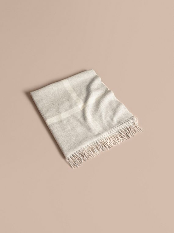 Check Cashmere Baby Blanket in Light Grey Melange
