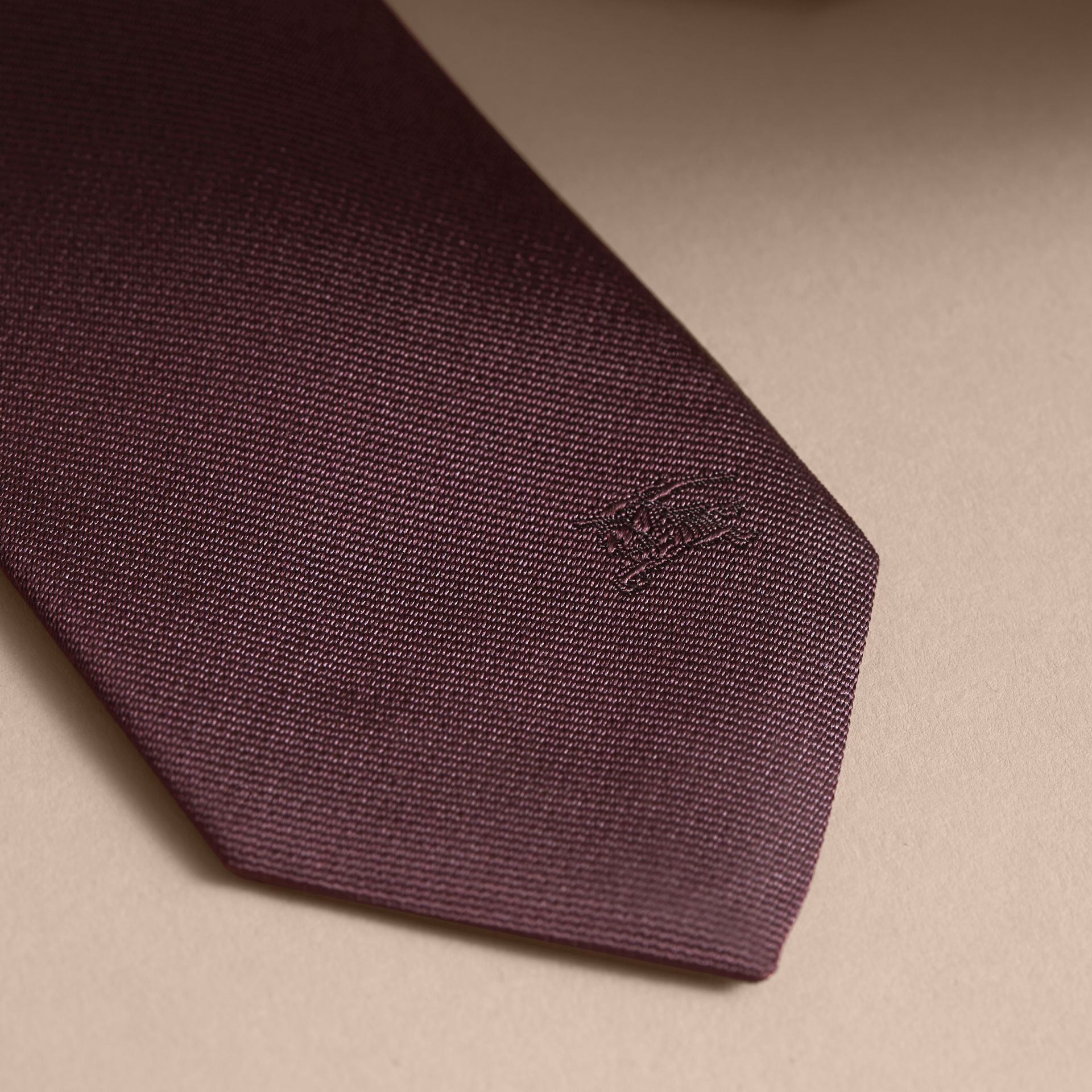 Slim Fit Striped Silk Tie Deep Claret - gallery image 2
