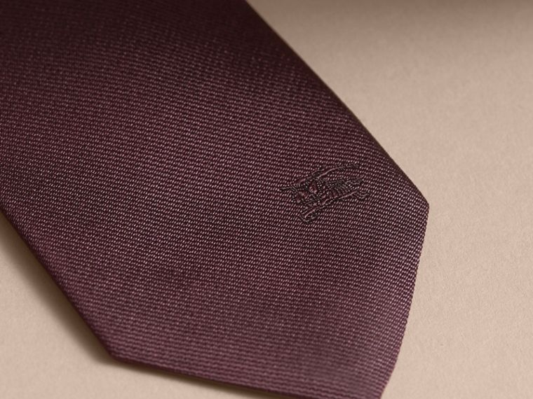 Slim Fit Striped Silk Tie Deep Claret - cell image 1