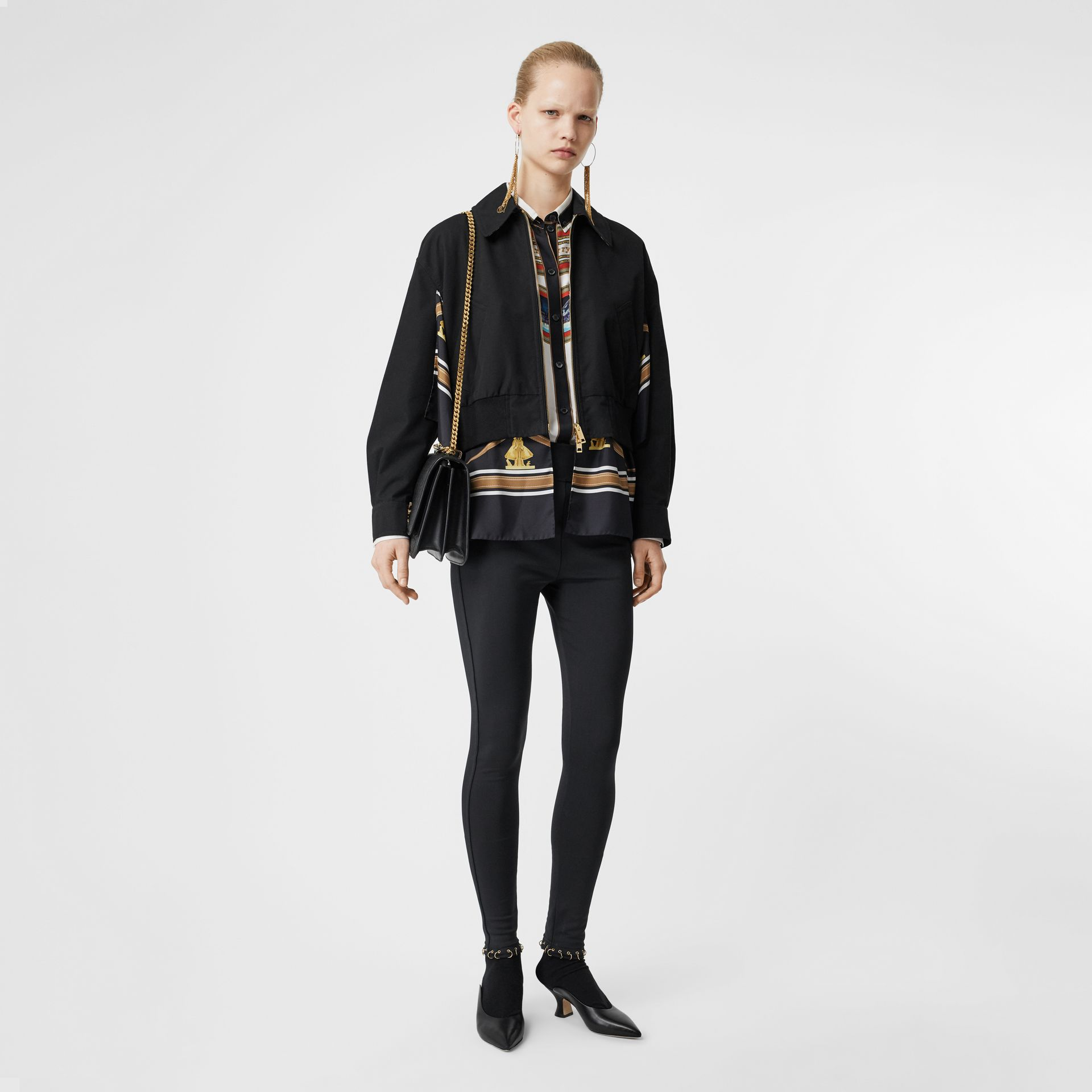 Leggings in jersey stretch con piercing ad anello (Nero) - Donna | Burberry - immagine della galleria 0