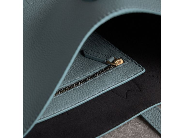 Large Embossed Leather Tote in Dusty Teal Blue | Burberry - cell image 4