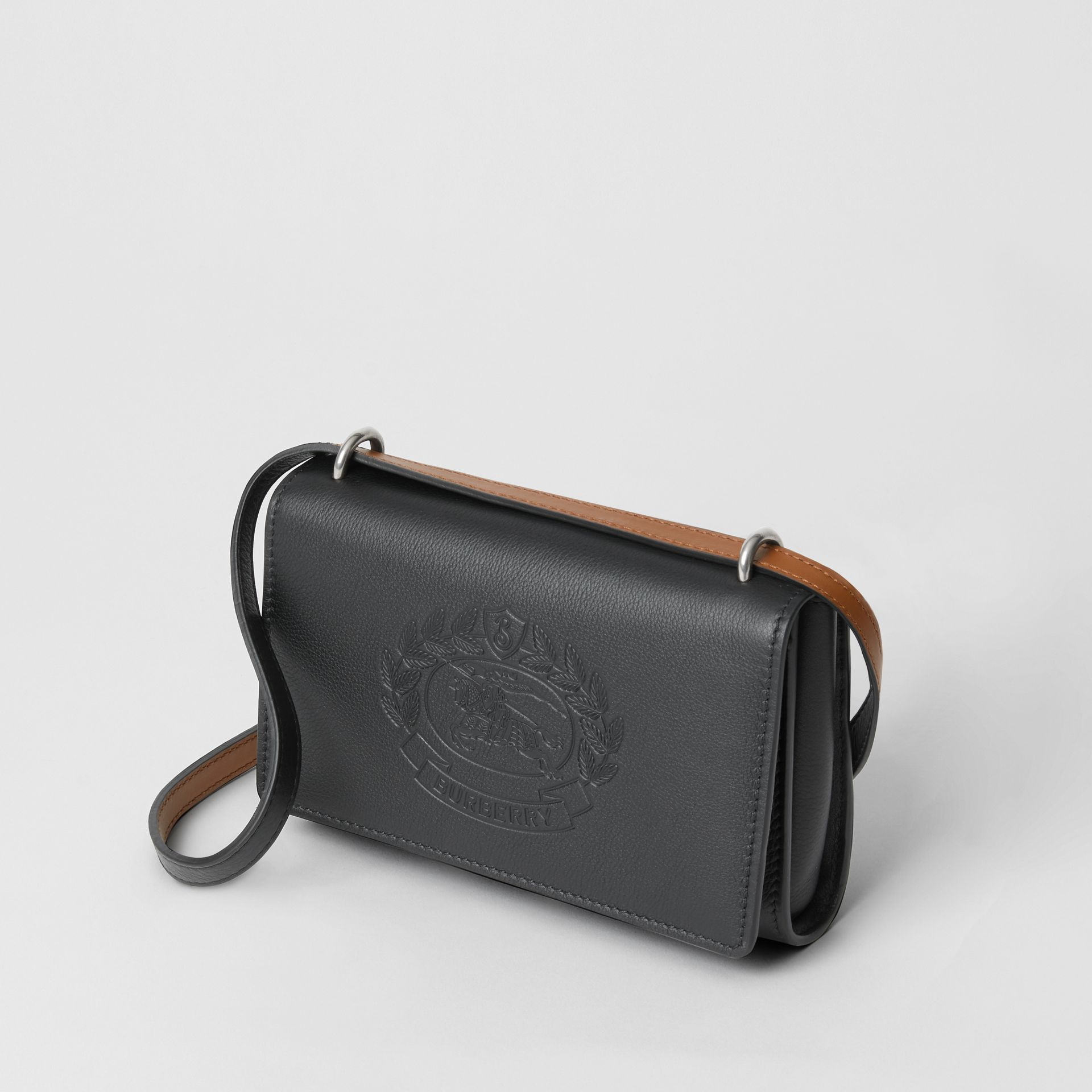Embossed Crest Leather Wallet with Detachable Strap in Black - Women | Burberry Australia - gallery image 4
