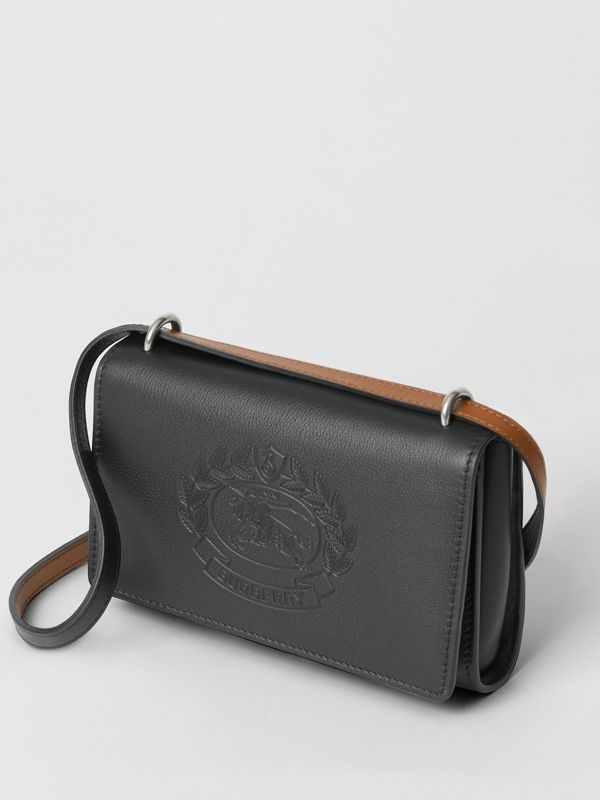 Embossed Crest Leather Wallet with Detachable Strap in Black - Women | Burberry Singapore - cell image 2