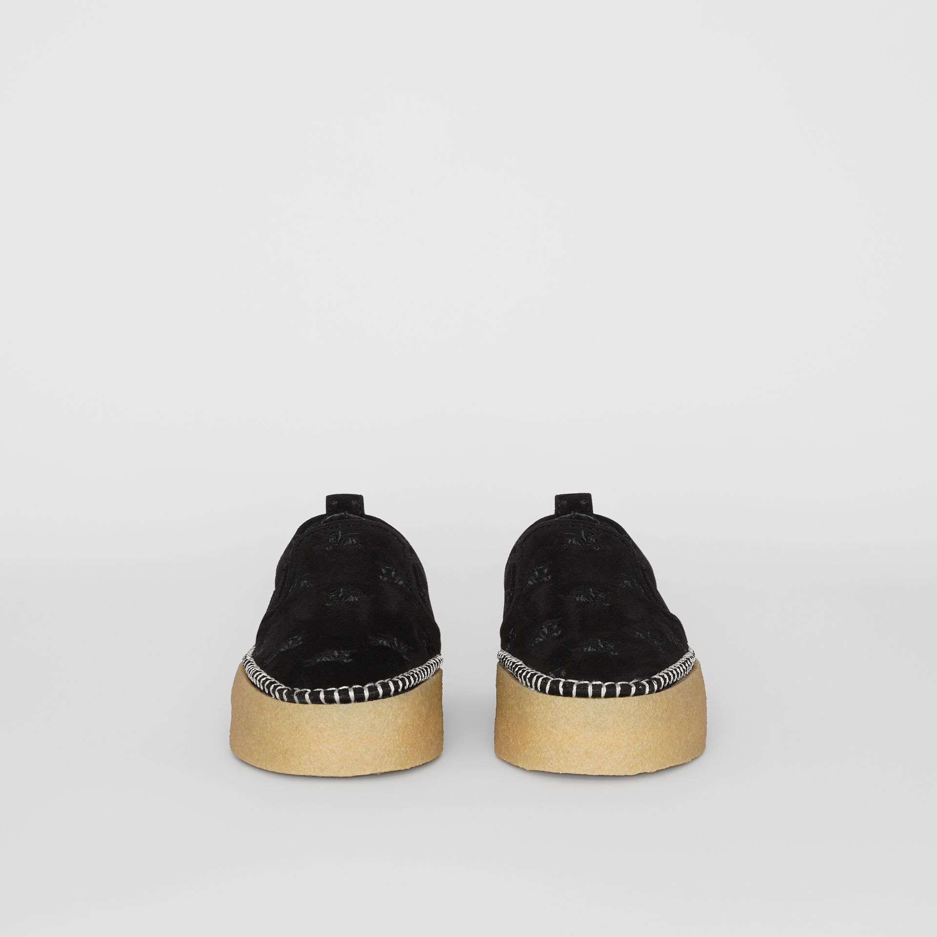 EKD Suede Slip-on Sneakers in Black - Women | Burberry United States - gallery image 3