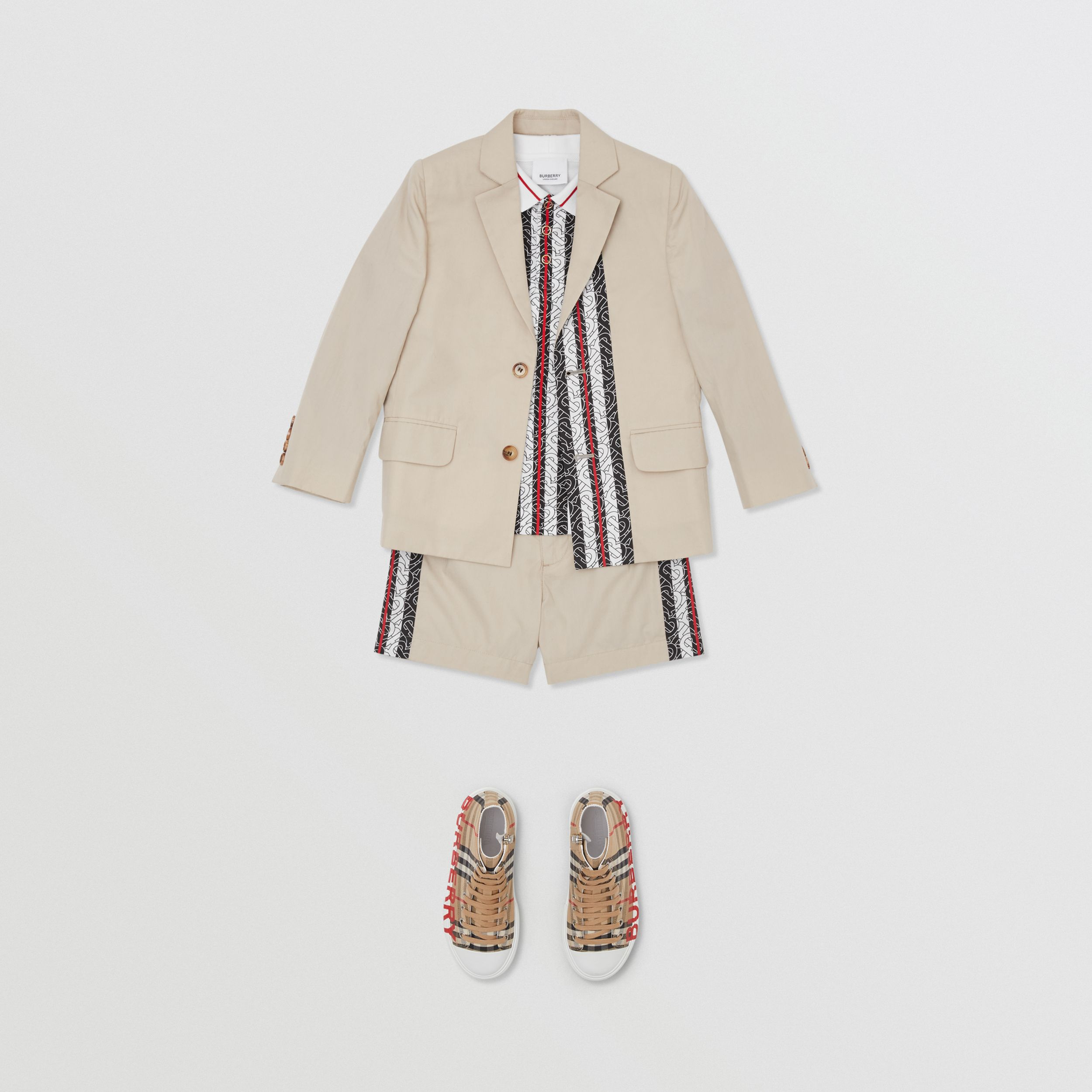 Monogram Stripe Print Cotton Blazer in Stone | Burberry - 3