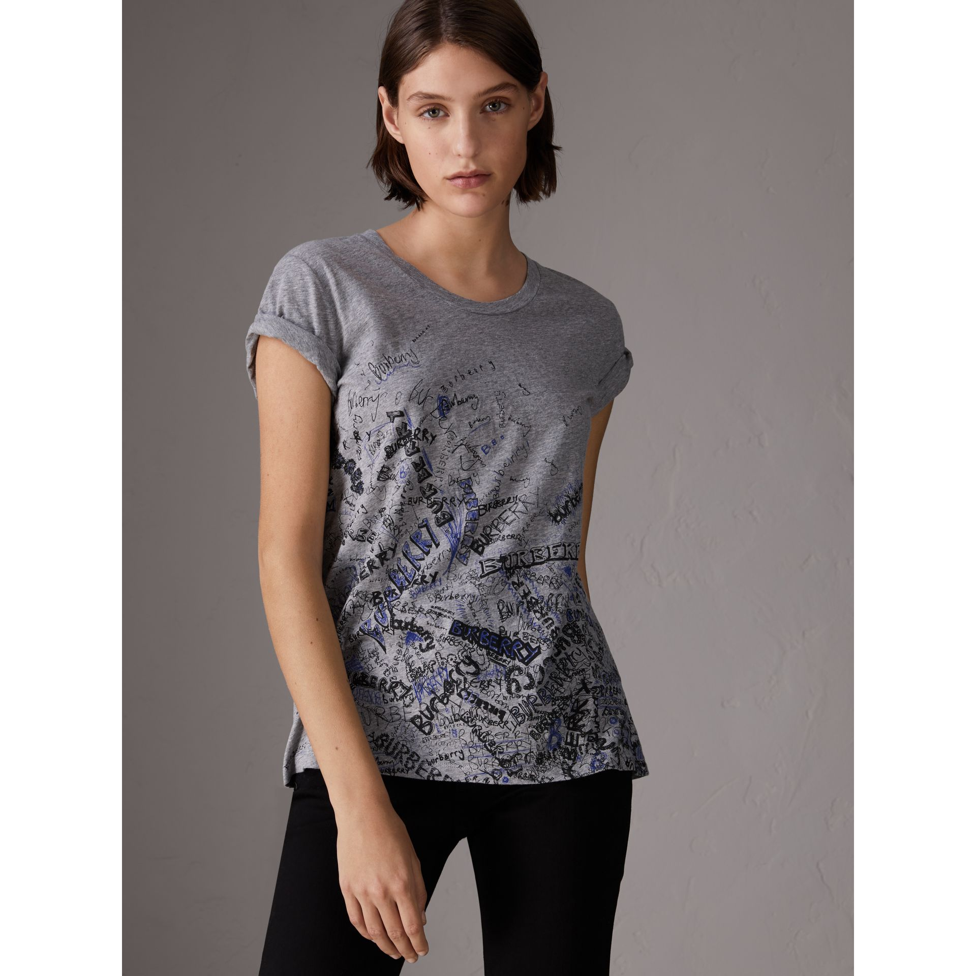 Doodle Print Cotton T-shirt in Pale Grey Melange - Women | Burberry Hong Kong - gallery image 0
