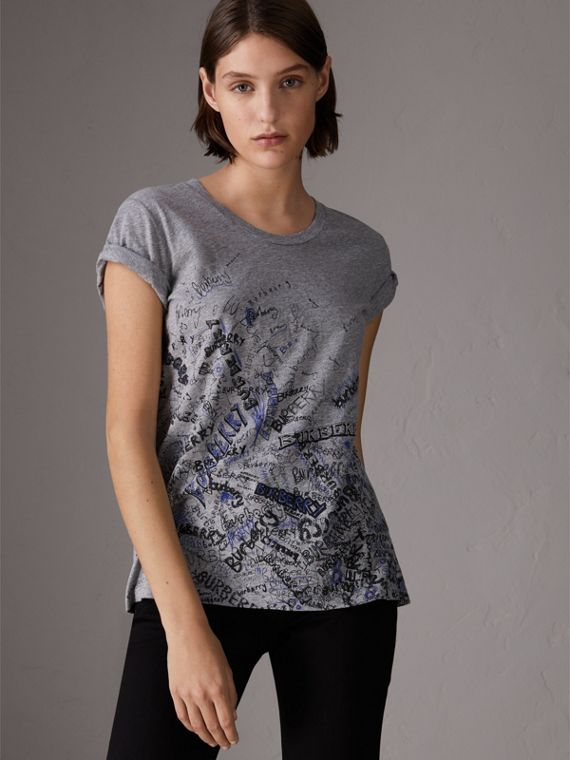 Doodle Print Cotton T-shirt in Pale Grey Melange