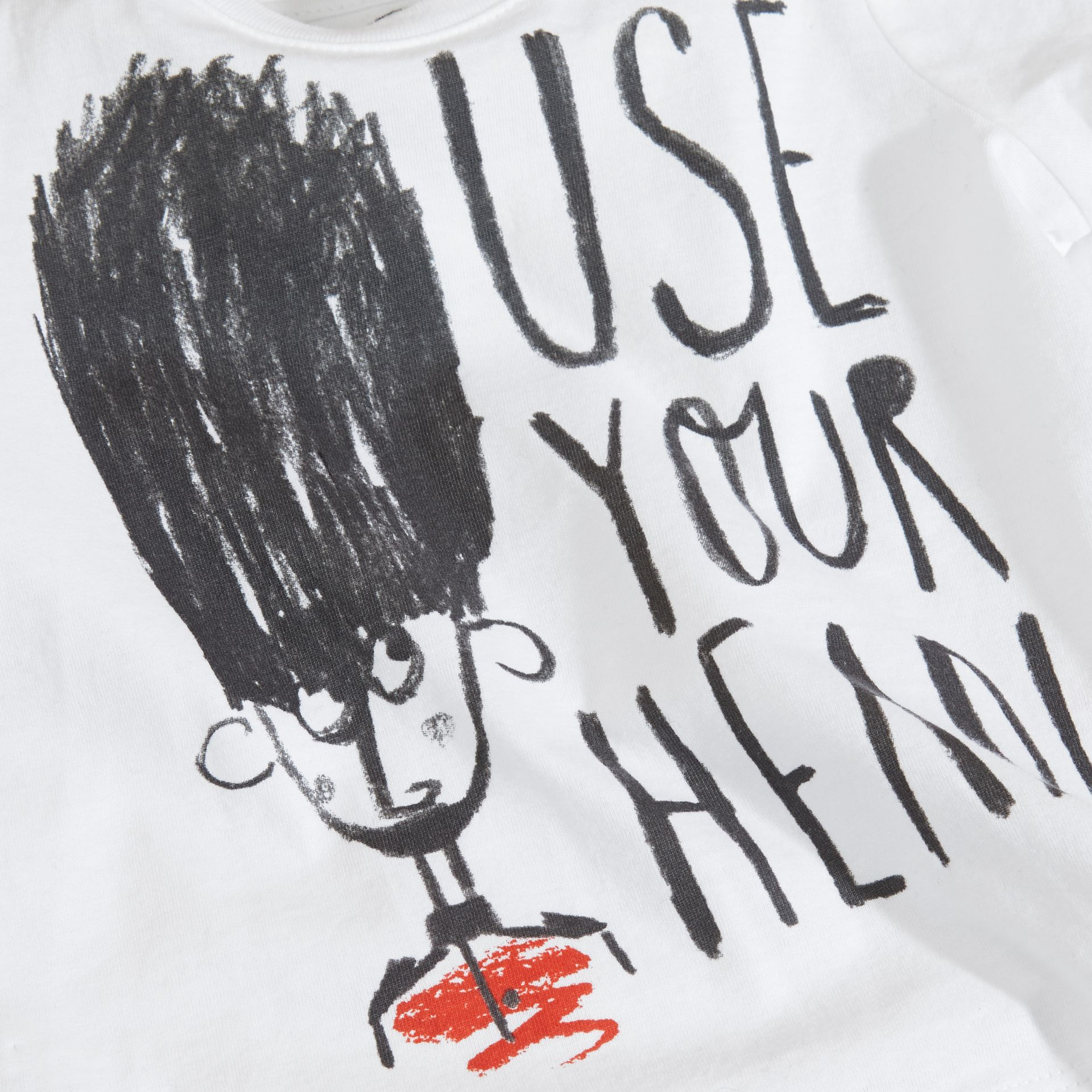 White Use Your Head Graphic Cotton T-Shirt - gallery image 2