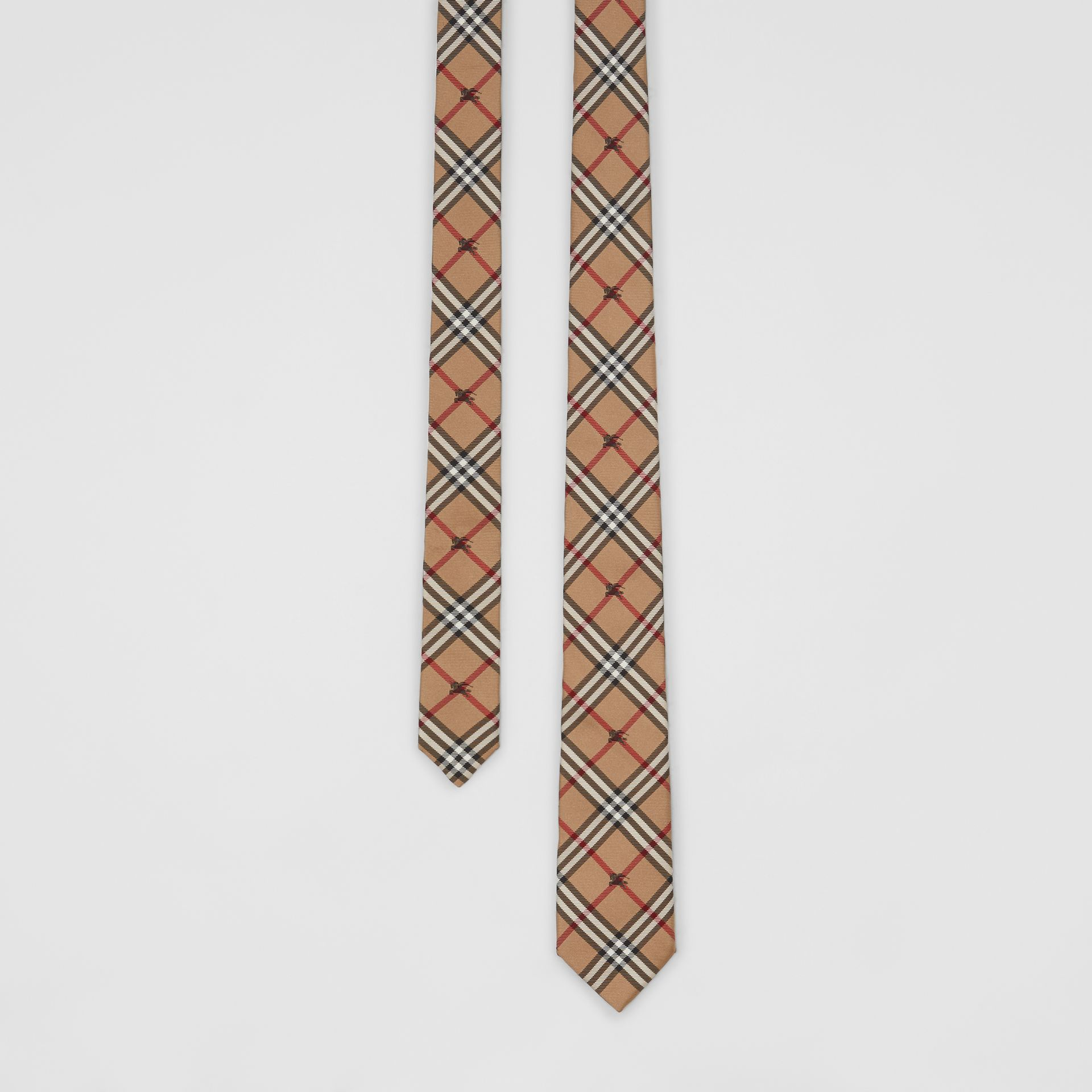 Slim Cut Equestrian Knight Check Silk Tie in Camel - Men | Burberry - gallery image 0