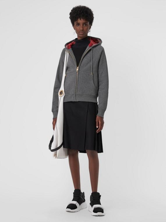 Hooded Zip-front Cotton Blend  Sweatshirt in Mid Grey Melange